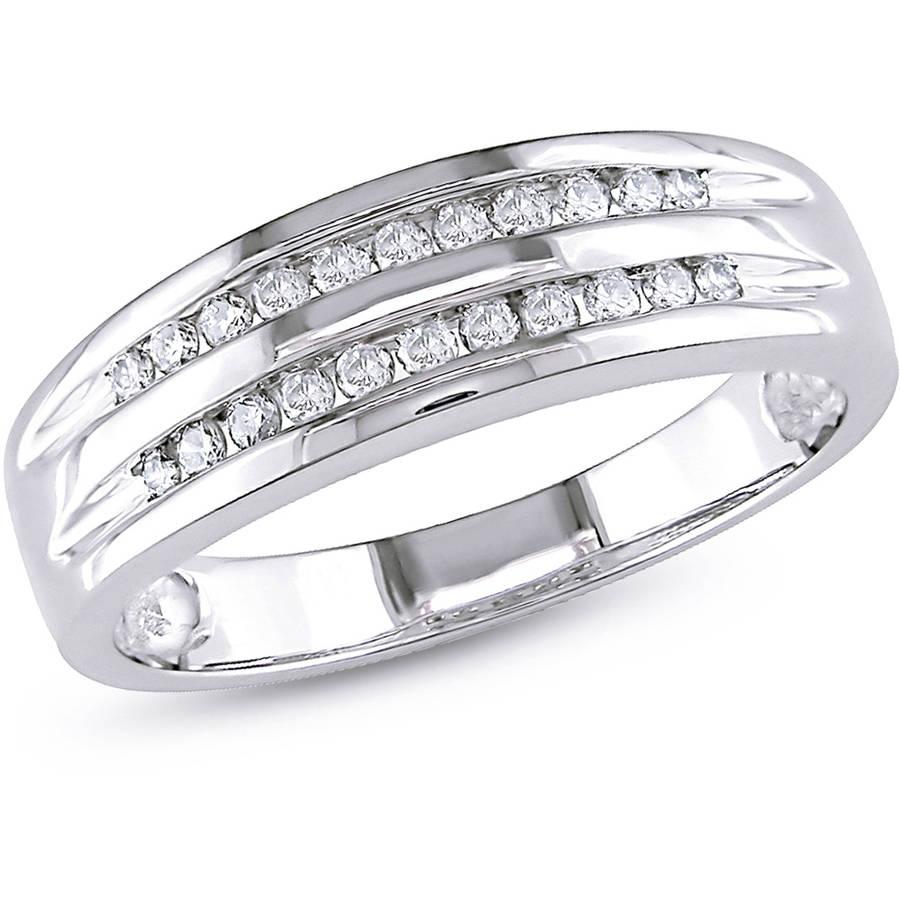 Miabella 1 6 Carat T.W. Double-Row Diamond 10kt White Gold Wedding Band by Delmar Manufacturing LLC
