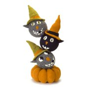 """25.75"""" Orange and Green Stacked Cats on a Pumpkin Halloween Figure Decoration"""