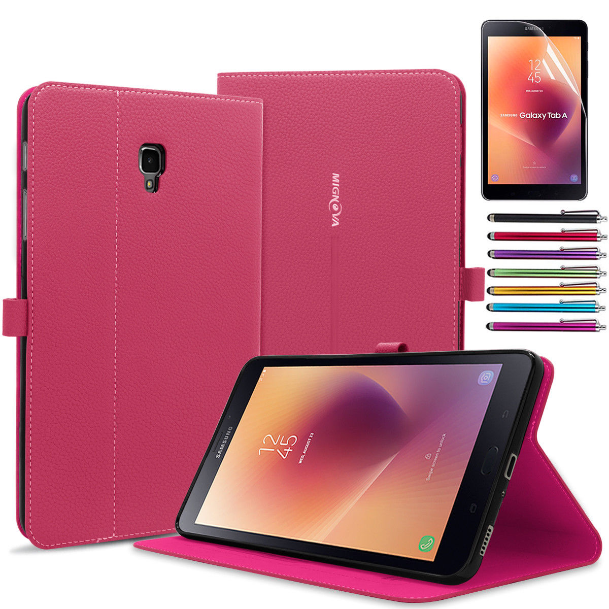 Galaxy Tab A 8.0 Case,Mignova Slim-Fit with Auto Sleep/Wake Feature Case Cover for Samsung Galaxy Tab A 8.0 inch Tablet T380 T385(2017 Release)+ Screen Protector Film and Stylus Pen Black