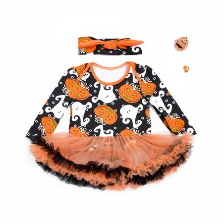 Halloween Clothes For Babies (Girl Baby Romper Infant Creeping Conjoined Clothes Open Crotch Jumpsuit Cute Halloween Baby Princess Yarn Skirt Overalls Costume with Bowknot Head)
