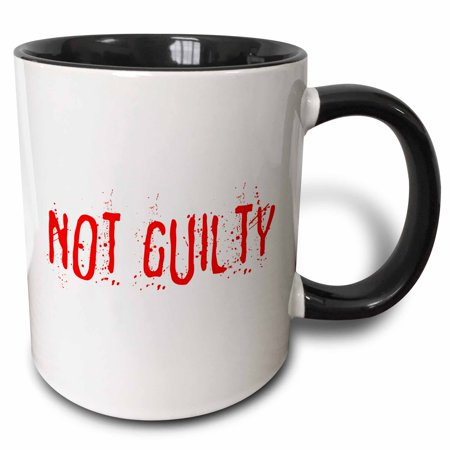 3dRose Red text Not Guilty on white surface. Halloween horror theme - Two Tone Black Mug, 11-ounce