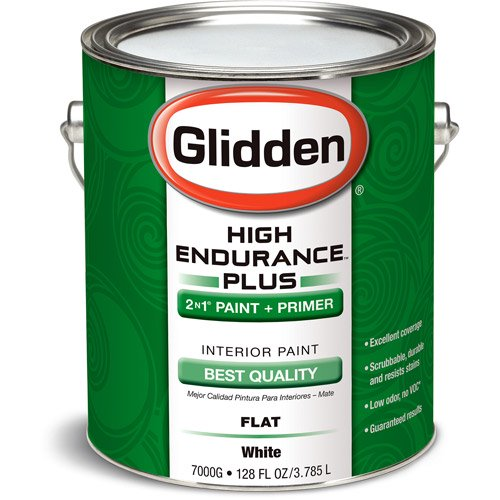 Genial Glidden High Endurance Plus Interior Flat Paint, White, 1 Gallon