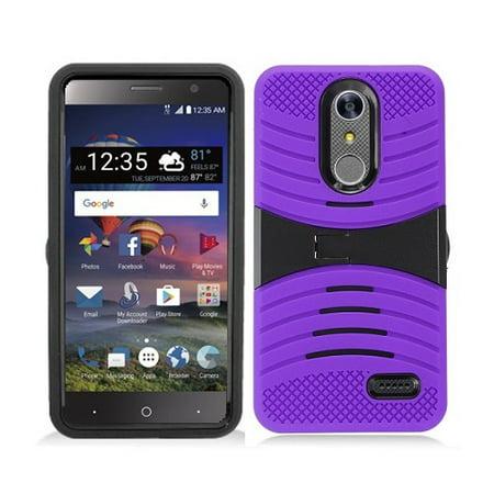 Phone Case For ZTE Zmax One LTE Z719DL, ZTE Blade Spark 4G (AT&T), ZTE Grand X4 (Cricket Wireless) Hard Armor Cover Case with Kickstand (Purple) (Cricket Zte 987 Phone Cases)