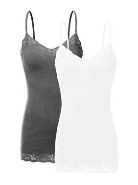 Women's Junior and Plus Adjustable Spaghetti Strap Lace Tim Cami Tank Top