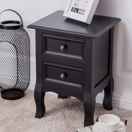 Costway Curved Legs Accent Side End Table Nigh stand Furniture W/2 Drawers