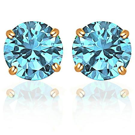 Aquamarine Jewelry - Orchid Jewelry 14k Yellow Gold Round-Cut Aquamarine CZ Stud Earrings