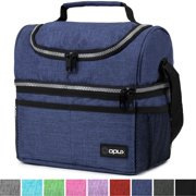 Insulated Dual Compartment Lunch Bag for Men, Women   Double Deck Reusable Lunch Box Cooler with Shoulder Strap, Leakproof Liner   Medium Lunch Pail for School, Work, Office (Heather Navy)