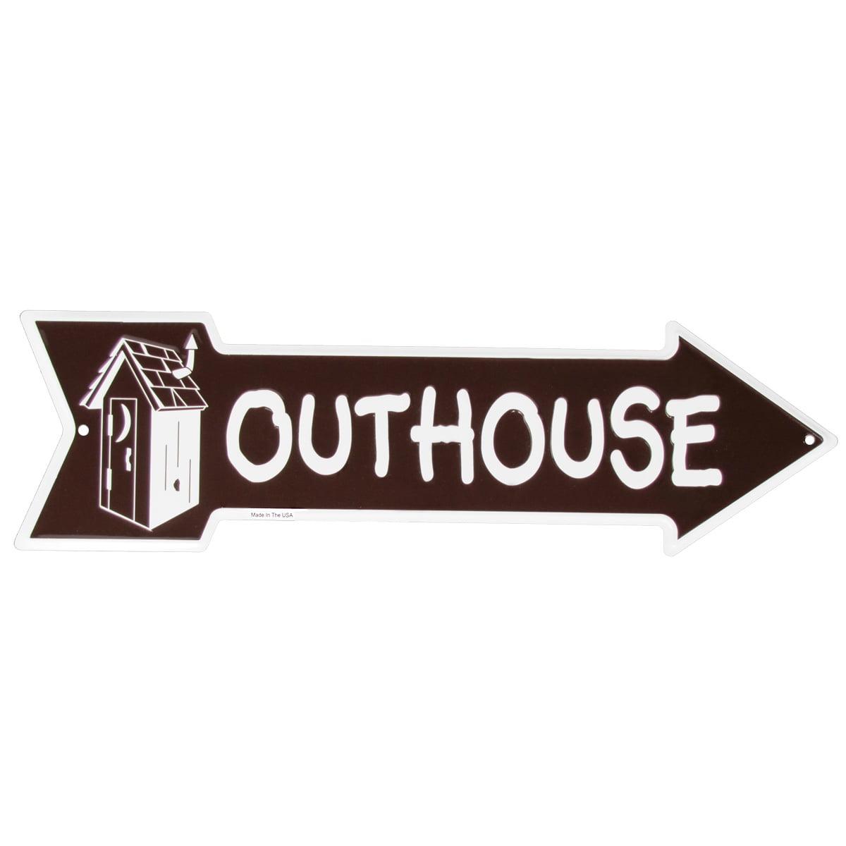 Tin Metal Outhouse Sign Funny Bathroom Restroom Arrow Garage Bar Pub Wall Decor
