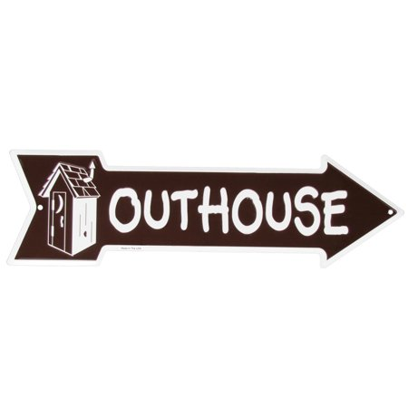 Tin Metal Outhouse Sign Funny Bathroom Restroom Arrow Garage Bar Pub Wall (Personalized Garage Pub Sign)