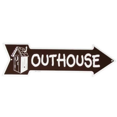 Tin Metal Outhouse Sign Funny Bathroom Restroom Arrow Garage Bar Pub Wall (Tin Metal Sign Free Magnet)