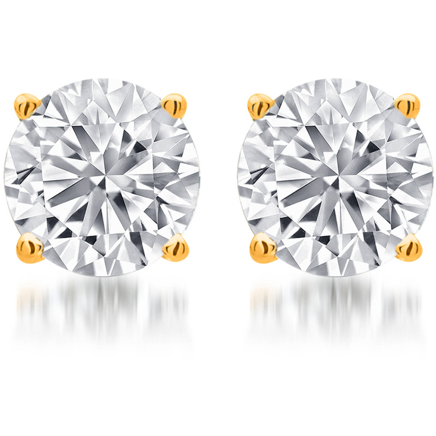 1/4 Carat T.W. Round White Diamond Yellow Gold over Sterling Silver Stud Earrings