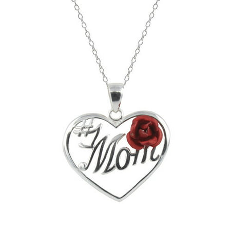 Sterling Silver    1 Mom   With Rose Heart Pendant  18