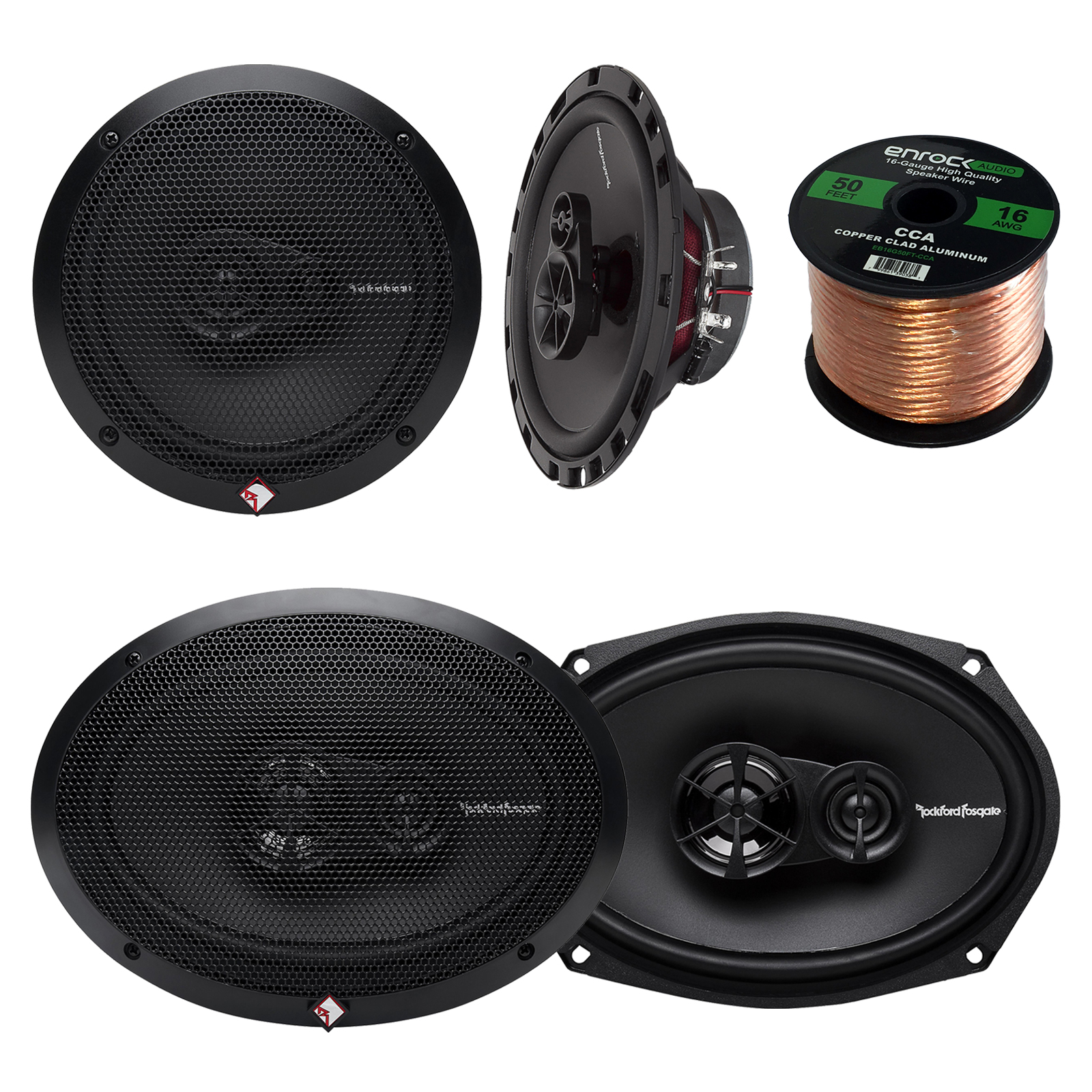 "Car Speaker Package of 2x Rockford Fosgate R165X3 Prime 6.5"" Inch 180 Watt 3-Way Full-Range Car Coaxial Speaker Bundle Combo With 2x R169X3 Prime 6x9"" Inch Audio Speakers + 50 Foot 16g Speaker Wire"