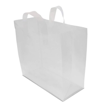 16x12x6  Pack of 100, Clear Plastic Gift Bags, Shopping Bags, Take Out Bags with Cardboard Bottom Sturdy Frosted Clear Plastic Take Out Bag With Soft Strap Handle. Packed 100/Pack. Bags Measure 16  Wide 6  Deep And 12  Tall. Great For Use As Food Service Take Out Bags, Lunch Bags, Boutique Bags Or General Purpose Bags.