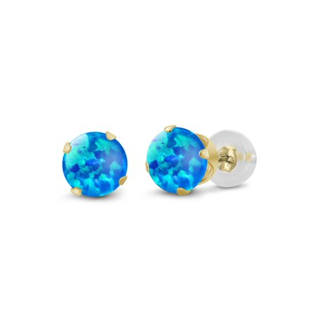 0.50 Ct Round Cabochon 4mm Blue Simulated Opal 14K Yellow Gold Stud Earrings