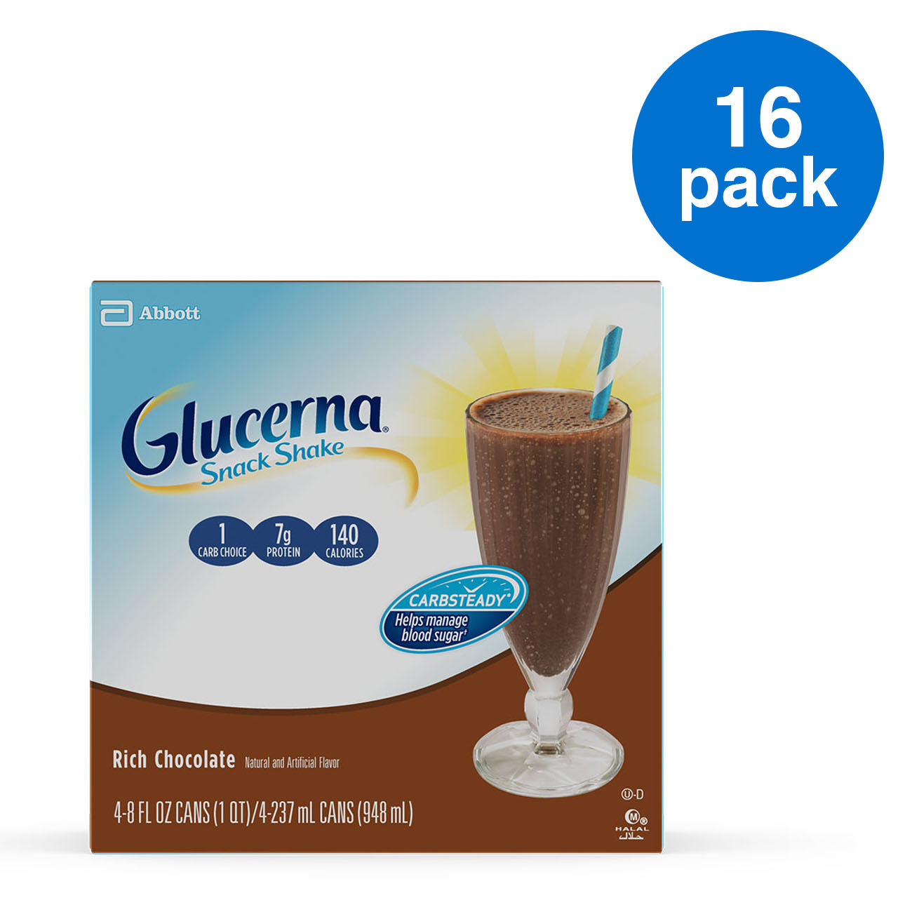 Glucerna Snack Shake, To Help Manage Blood Sugar, Rich Chocolate, 8 fl oz, 16 Count