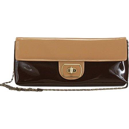 Aryana Rose2brn Handbag With Twist Lock Flap Closure  Brown