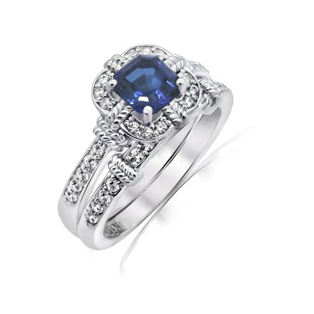 Gemour Platinum Plated Sterling Silver Created Sapphire Asscher cut Vintage Style 2-piece ring set, Size 6