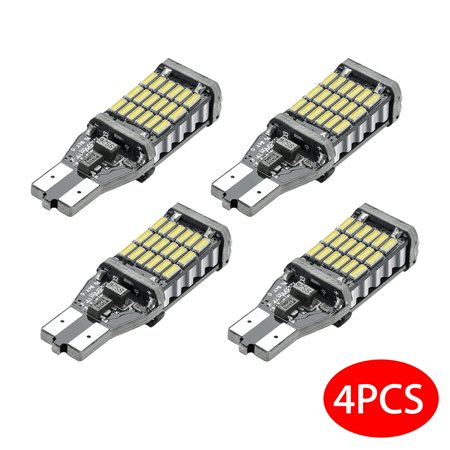 4 Pcs T15 W16W 921 Super Bright Canbus 45-SMD 4014 Led Bulb for Backup Reverse Lights 360° View Angle Super Bright Long Lasting Energy Saving Low