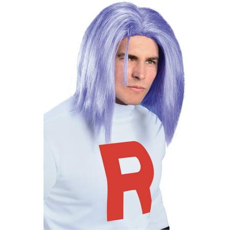Men Adult Team Rocket Pokemon James Long Purple Costume Wig