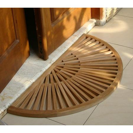 WholesaleTeak Outdoor Patio Grade-A Teak Wood Sun Burst Door / Shower/ Spa / Bath Floor Mat (34x17) #WMAXSBFM