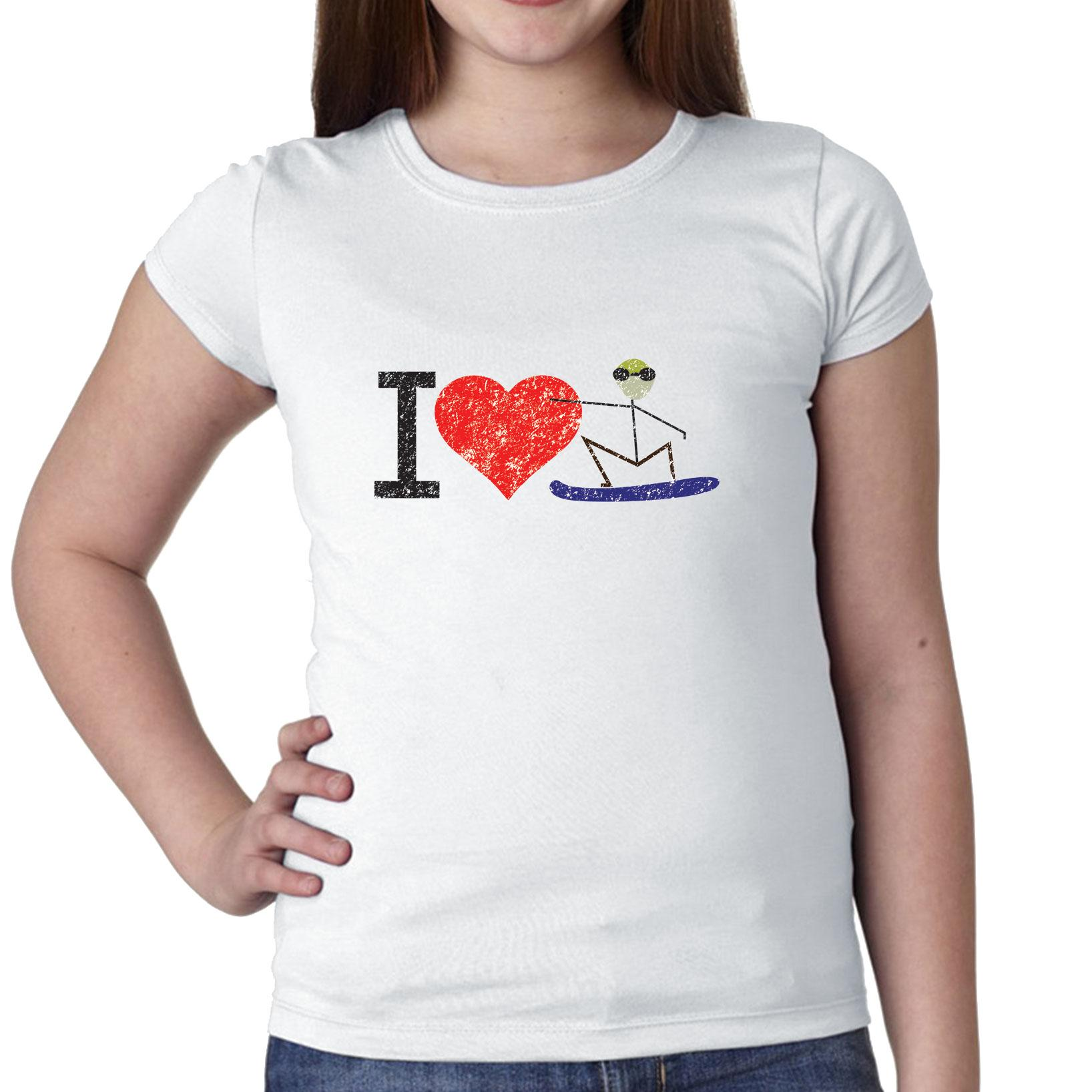 I Love Snowboarding Red Heart Cartoon Girl's Cotton Youth T-Shirt by Hollywood Thread