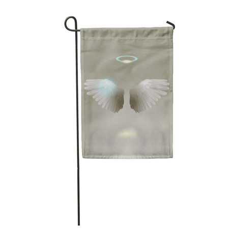 LADDKE White Angel Wings Feather Mythical Religion Garden Flag Decorative Flag House Banner 12x18 inch