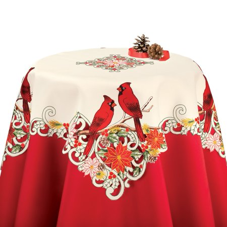 Embroidered Holiday Cardinal Poinsettia Tablecloth Linens, Square