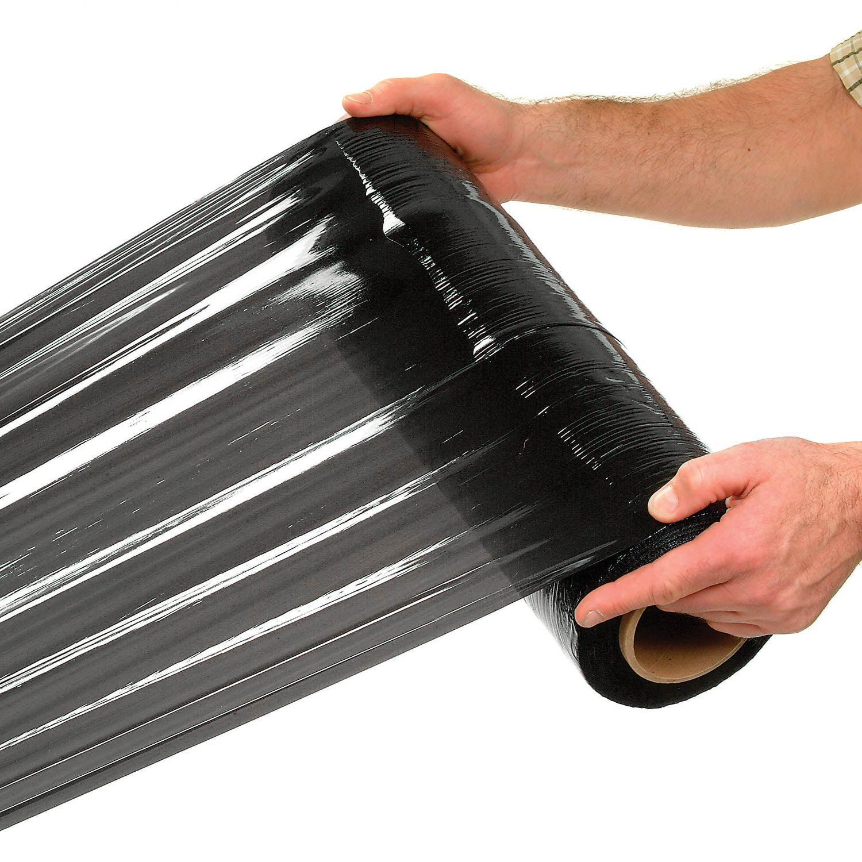 """80 Gauge Stretch Wrap 18"""" x 1500', Black, Lot of 4"""