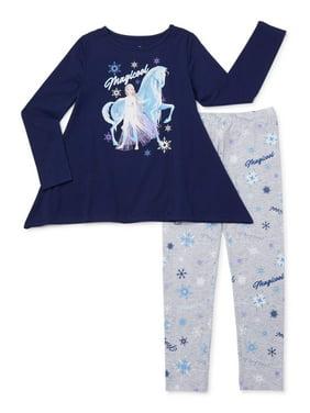Disney Frozen 2 Exclusive Sharkbite Graphic T-Shirt and Leggings, 2-Piece Outfit Set, Sizes 4-16