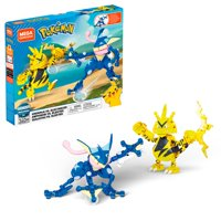 Mega Construx Pokemon Greninja vs. Electabuzz Construction Set with character figures, Building Toys for Kids (340 Pieces)