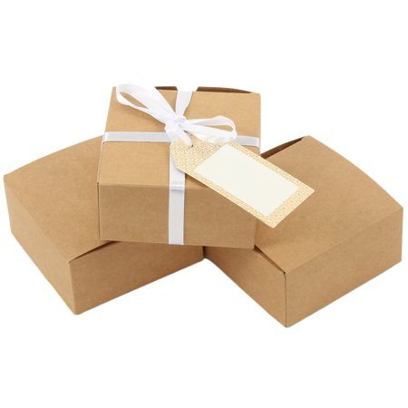 Koyal Wholesale Favor Boxes Kraft 4 X 4 X 2 Inch Tuck Boxes Bulk 25 Pack Count Rustic Chic Small Party Favor Boxes