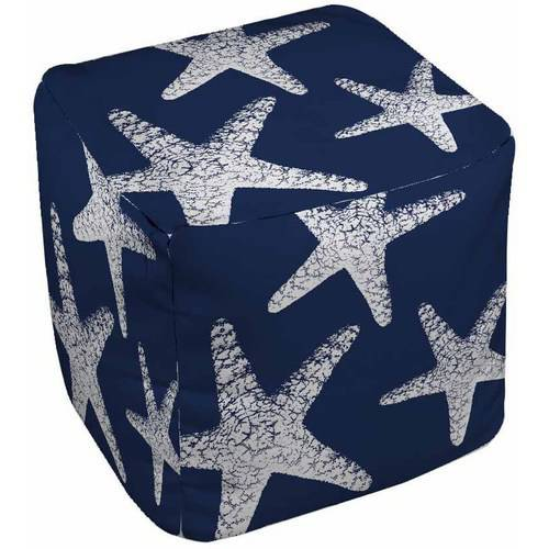 IDG Nautical Nonsense White Blue Starfish Pouf