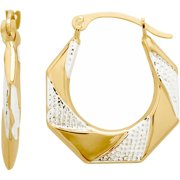 Simply Gold 10kt Yellow Gold with Rhodium Octagon Hoop Earrings