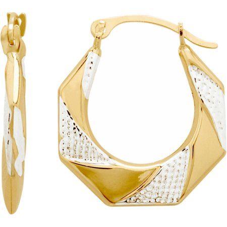 Brilliance Fine Jewelry 10K Yellow Gold with Textured Rhodium Octagon Hoop Earrings