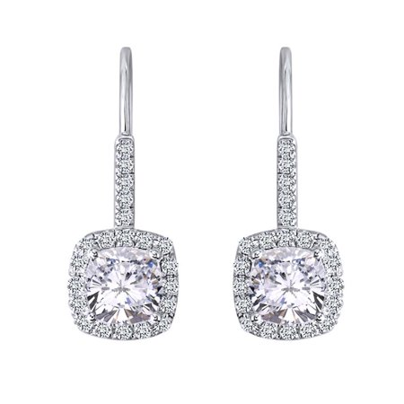 2.62 Cttw Womens Cushion White Moissanite Halo Dangling Drop Earring 14Kt White Gold Over Sterling Silver