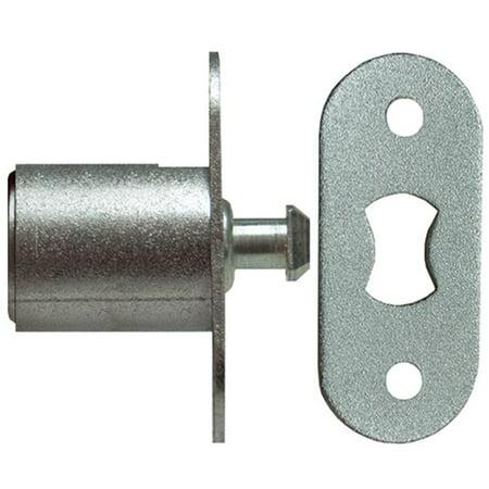 National Lock N8042 26D 415 Disc Tumbler Sliding Door Plunger Lock, Dull Chrome - 0.87 in. Chrome Single Glass Door Lock