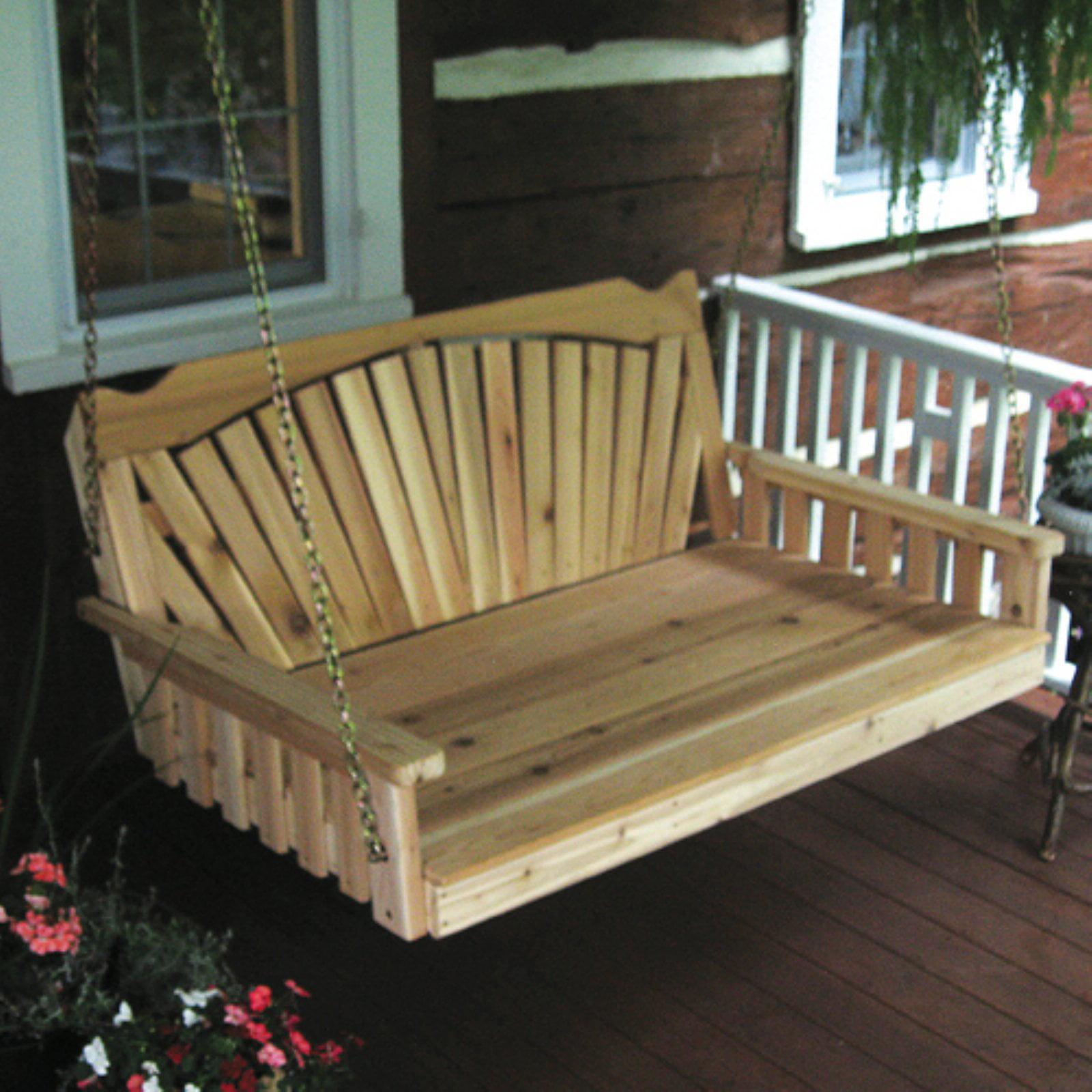 A & L Furniture Western Red Cedar Fanback Swing Bed