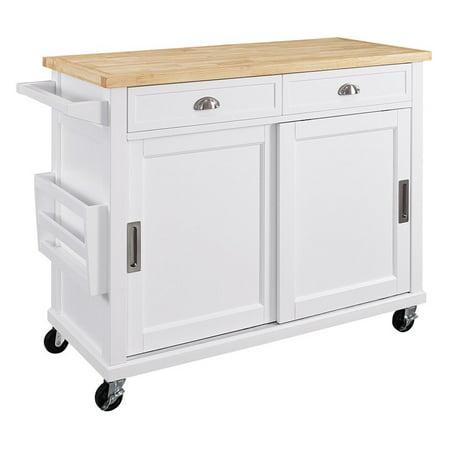 Linon Sherman Kitchen Cart White Finish 36 Inches Tall