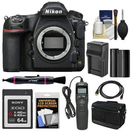 Nikon D850 Wi-Fi 4K Digital SLR Camera Body with 64GB XQD Card + Battery +  Charger + Case + Remote + Kit