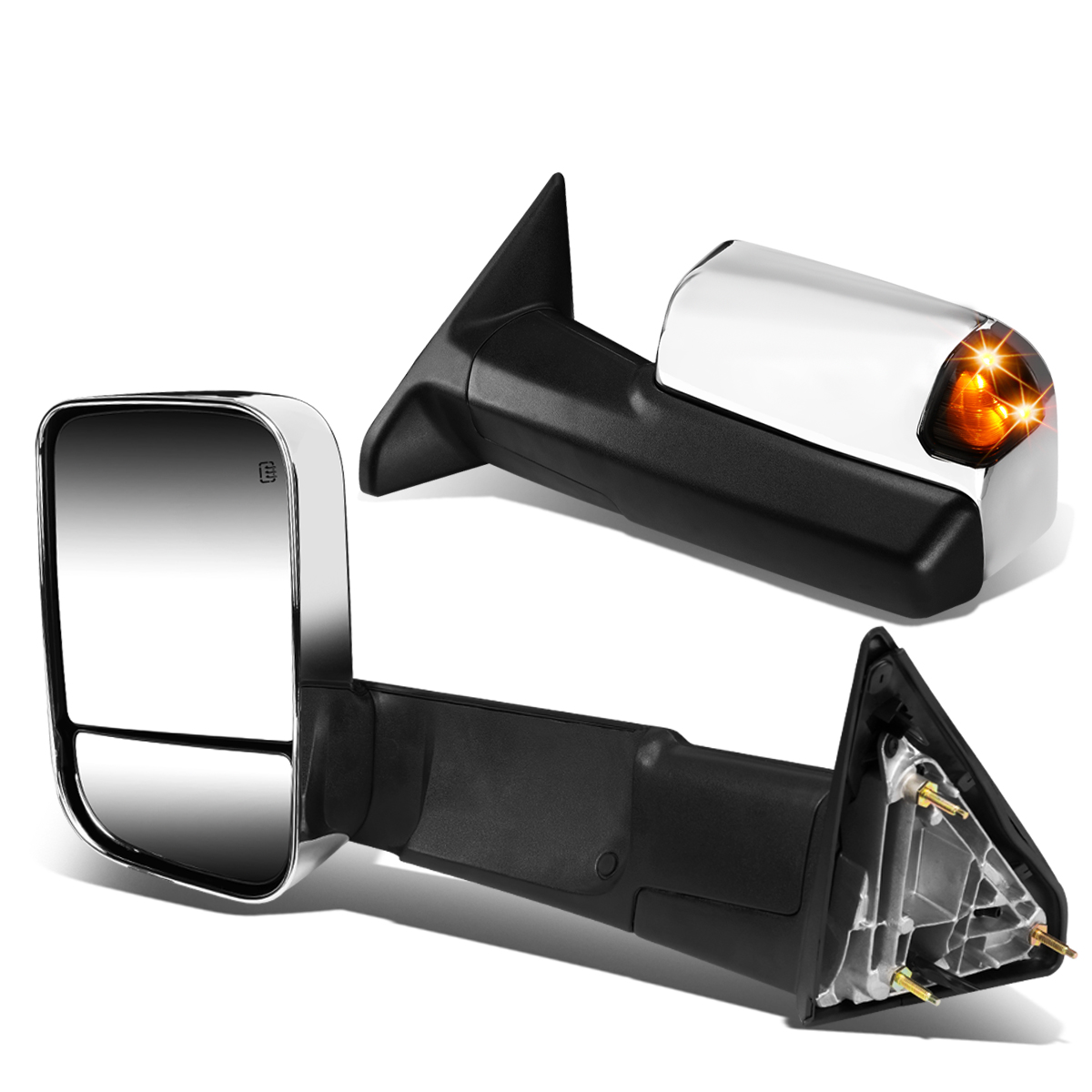 For 09-16 Dodge Ram Pair of Chrome Powered + Heated Smoked Signal Glass + Foldable Extenable Side Towing Mirrors 14 15