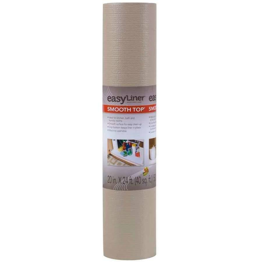 "Duck Brand 20"" x 24' Smooth Top Shelf Liner, Taupe"
