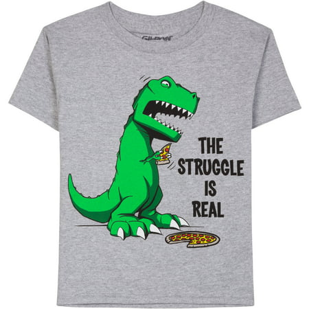 Boys pizza struggle humor short sleeve graphic tee for Graphic t shirts for kids