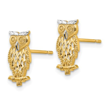 14k Yellow Gold Cut Out Owl Post Stud Earrings Animal Bird Fine Jewelry Gifts For Women For Her - image 4 de 7