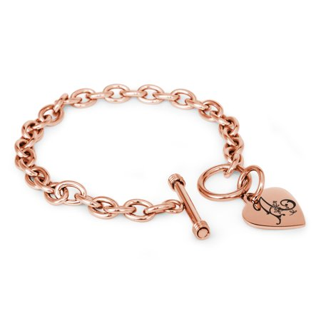 Stainless Steel Letter A Initial Floral Box Monogram Engraved Heart Charm Bracelet, Necklace, or Set