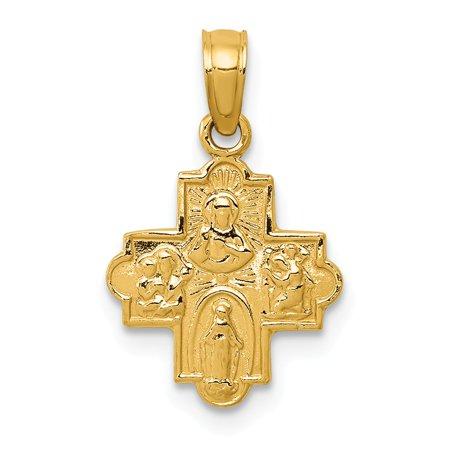 Solid 14k Yellow Gold Miniature Four Way Medal Pendant (11mm x 19mm)