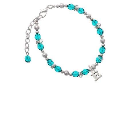 Silvertone Small Initial - E - Teal Beaded Bracelet