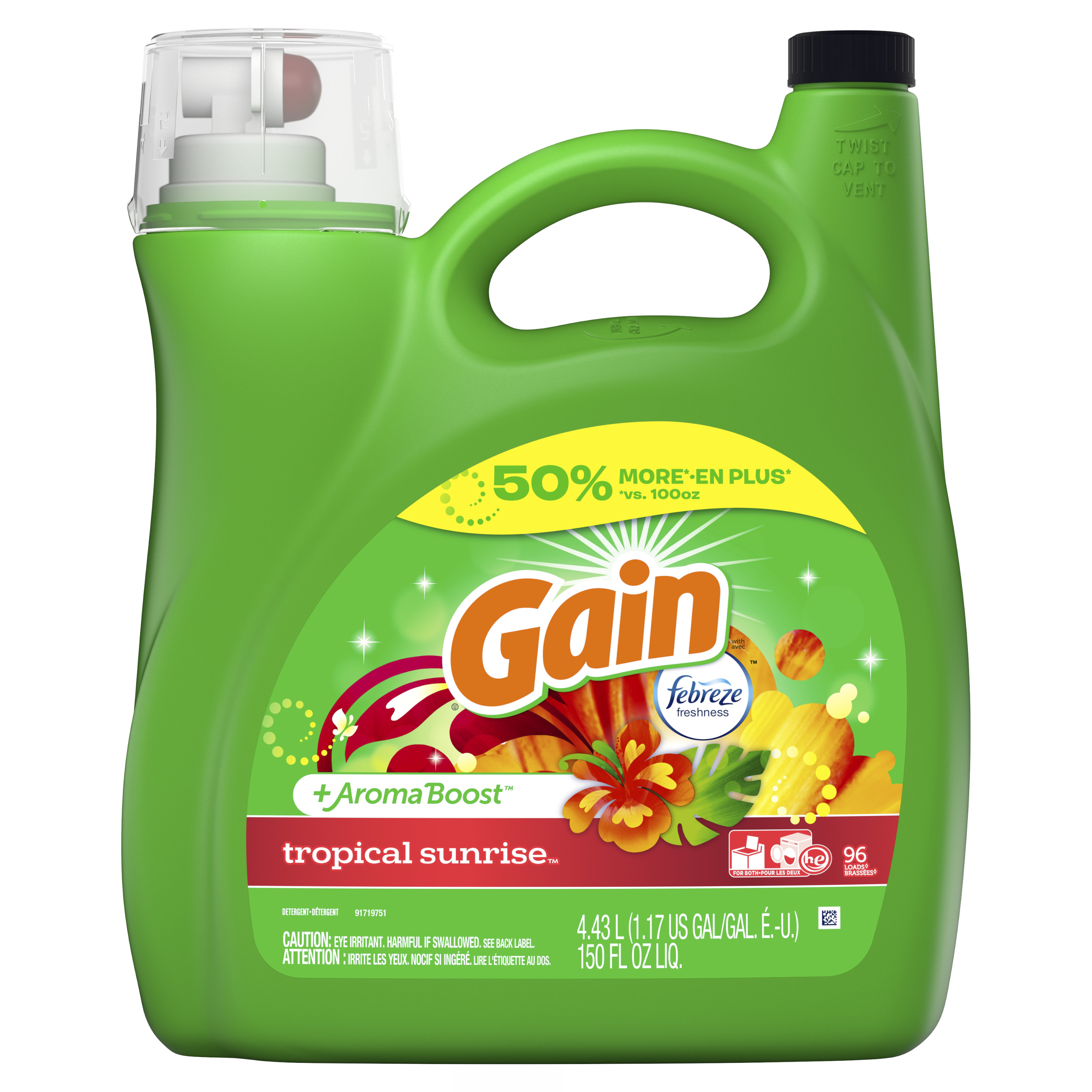 Gain + Aroma Boost Liquid Laundry Detergent with Febreze Freshness, Tropical Sunrise, 96 Loads 150 fl oz