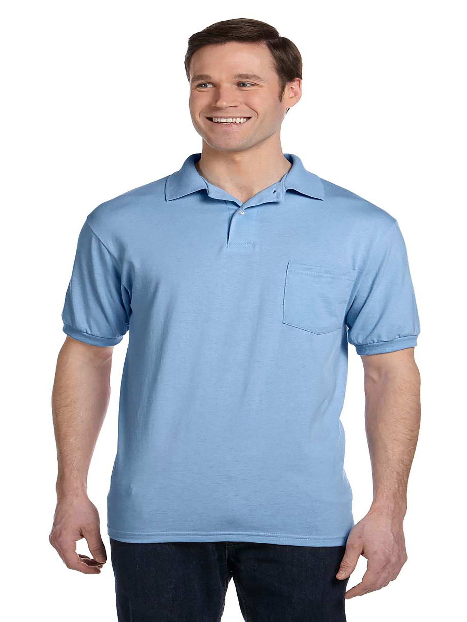 Hanes Hanes Mens Cotton Blend Ecosmart Jersey Polo With Pocket