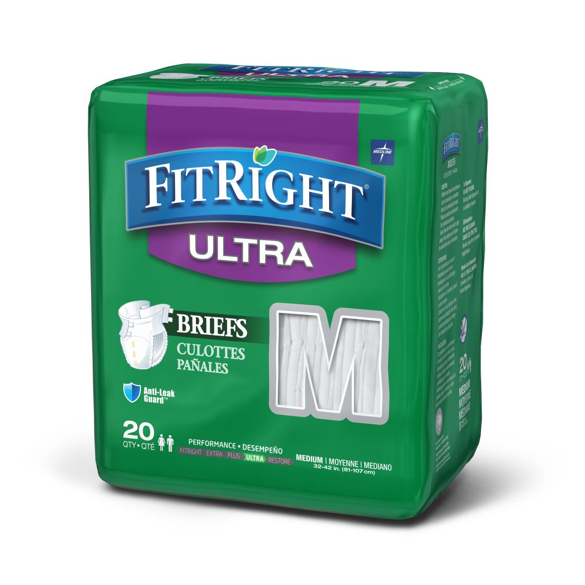 Medline FitRight Ultra Disposable Briefs, 20 Count (Pack of 4)
